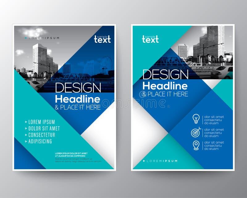 蓝色小册子年终报告盖子飞行物海报设计版面 向量例证
