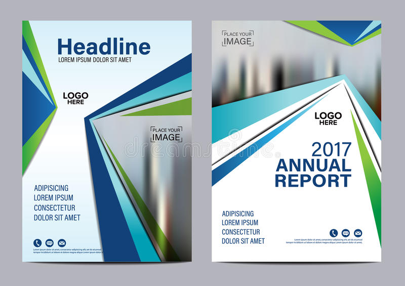 蓝色小册子年终报告飞行物设计模板 向量例证
