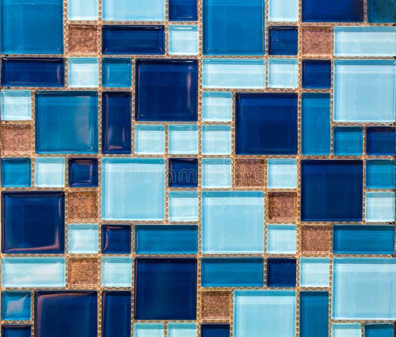 蓝色小方形的瓦片  库存照片