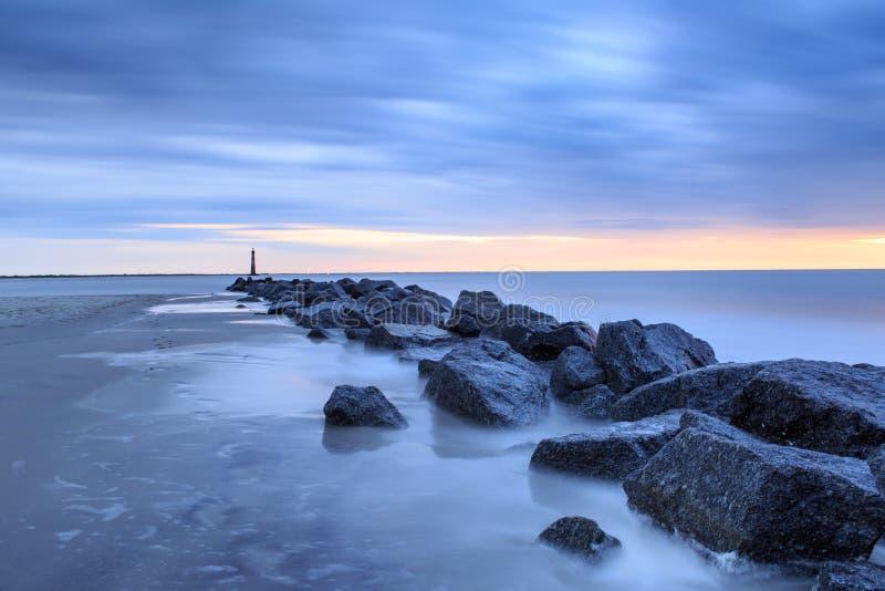 蓝色小时沿海风景 图库摄影