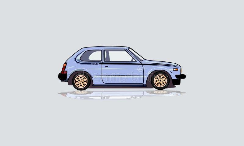 蓝色小轿车斜背式的汽车 向量例证