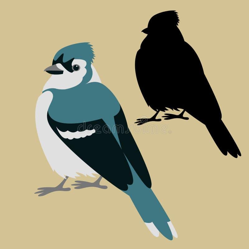 蓝色尖嘴鸟鸟传染媒介例证平的样式剪影 库存例证