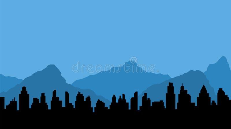 蓝色山和城市黑剪影  库存例证