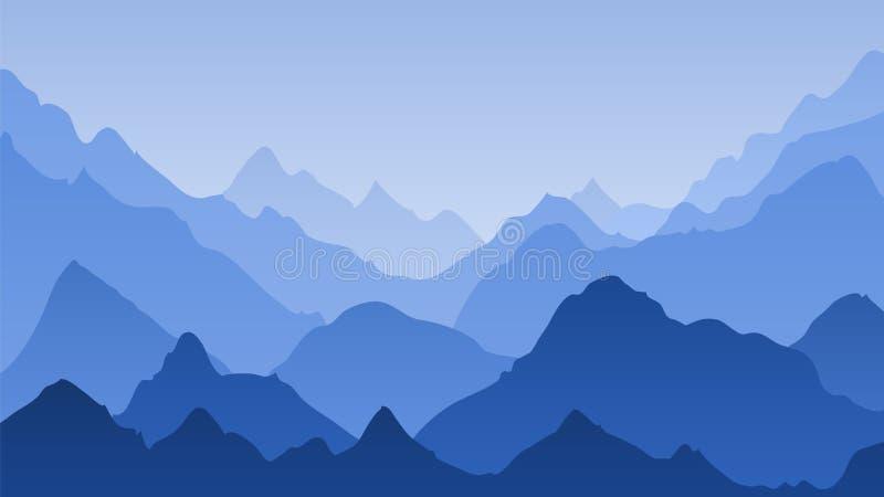蓝色山风景 山有薄雾的剪影,全景小山 庄严高峰范围天际,远足传染媒介 向量例证