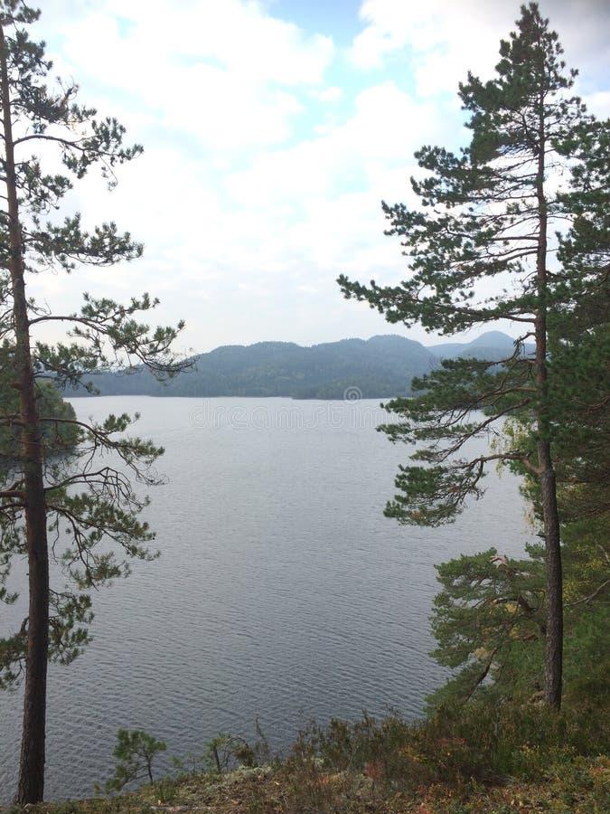 蓝色峡湾山本质挪威天空 免版税库存图片
