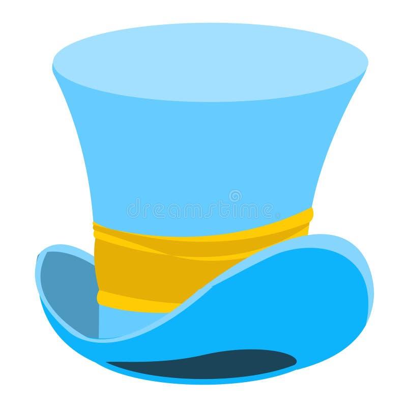 蓝色巫术师帽子 老人的头饰 圆筒绅士 ?? 库存例证