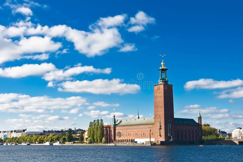 蓝色市政厅天空斯德哥尔摩 免版税库存照片
