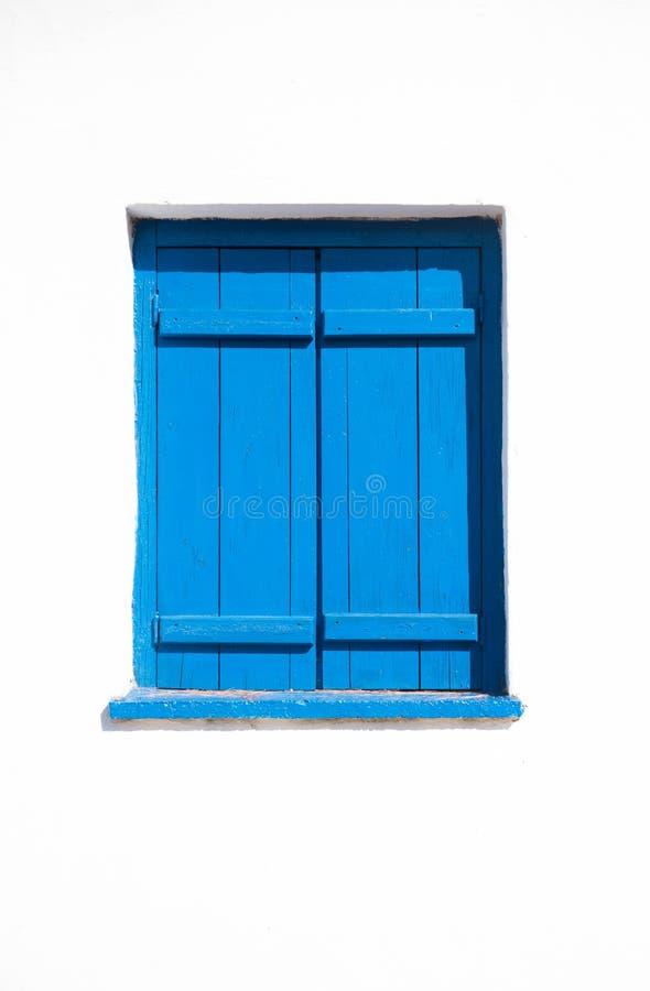 蓝色希腊视窗 库存照片