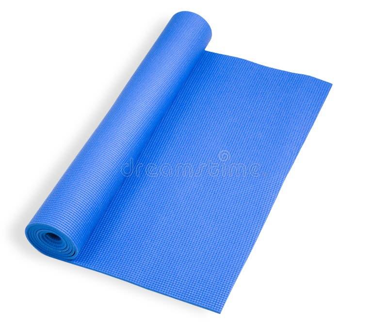蓝色席子滚的瑜伽 免版税库存图片