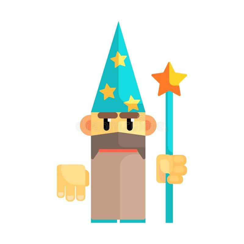 蓝色帽子的地精巫术师有星和职员的在他的手上 童话,意想不到,不可思议的五颜六色的字符 向量例证
