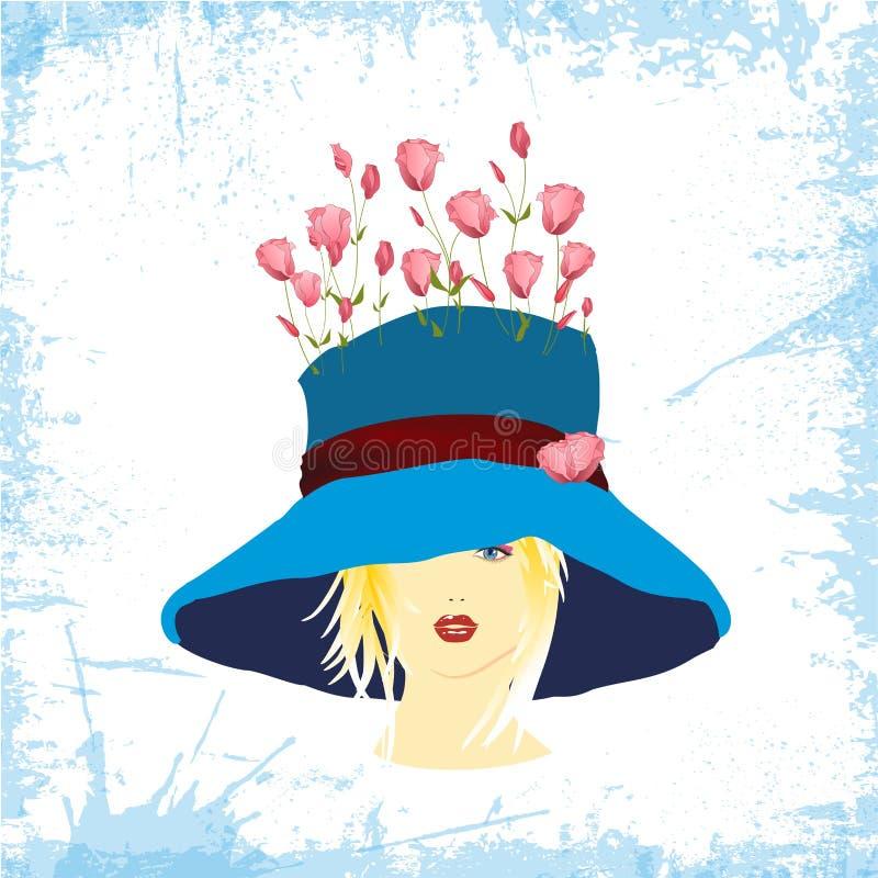 蓝色帽子的妇女有玫瑰的 皇族释放例证