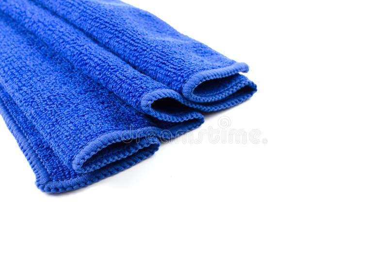 蓝色干燥微纤维布料纹理  免版税库存照片