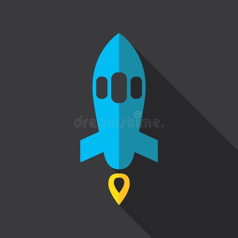 蓝色底层关闭四由喷嘴喷射火箭天空空间 皇族释放例证