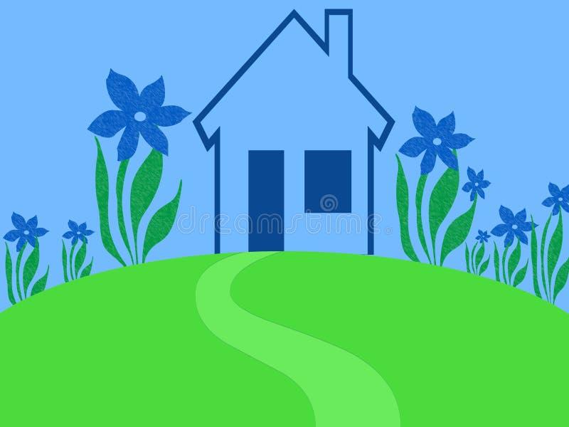 蓝色庭院房子 库存例证
