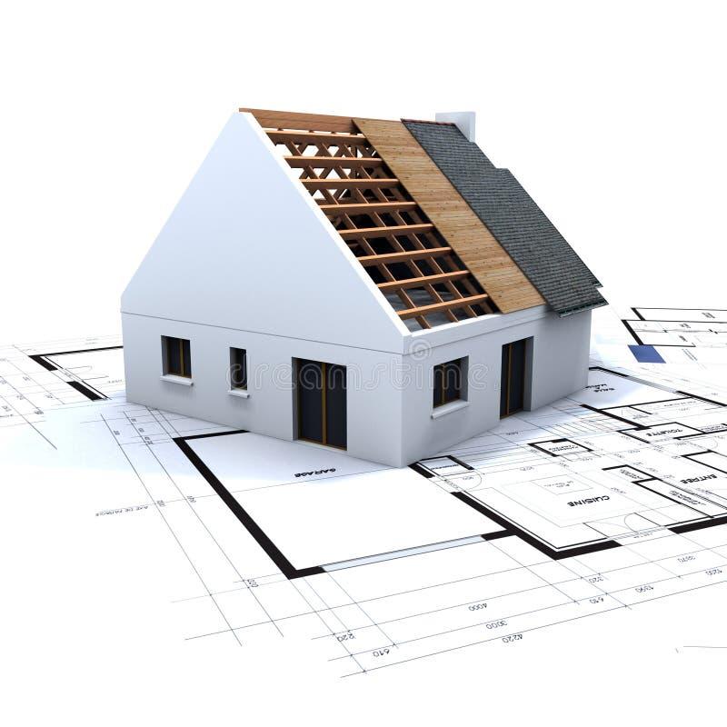 蓝色建筑房子 向量例证