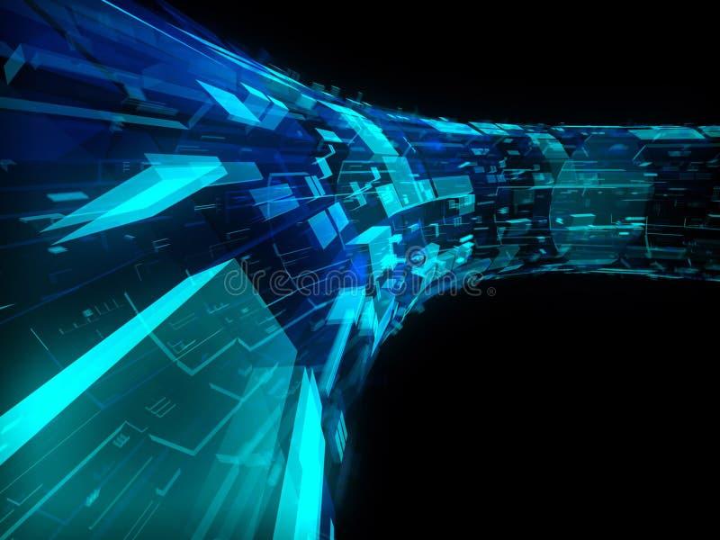 蓝色建筑未来派绿色透明 库存例证
