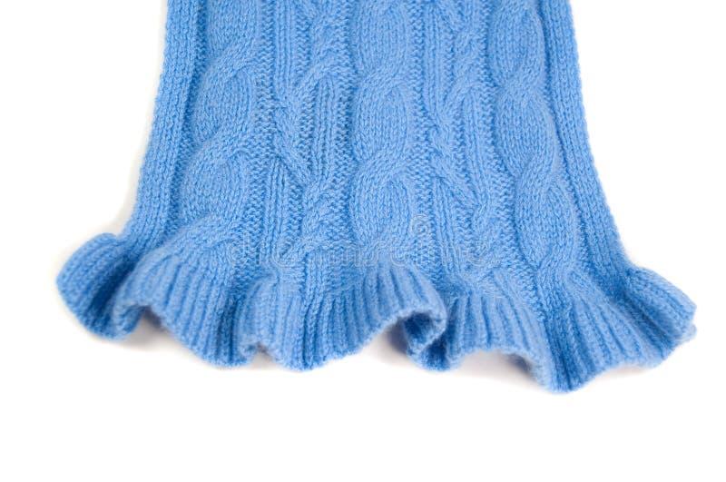 蓝色开士米编织围巾 库存照片