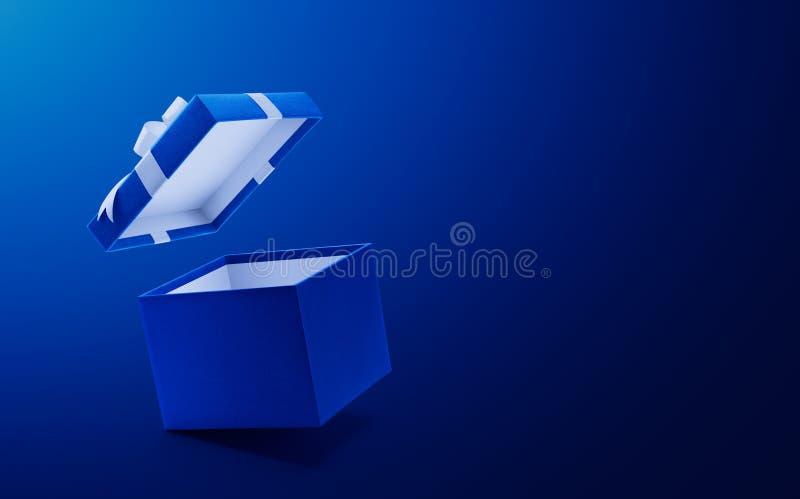 蓝色开放礼物盒 库存例证