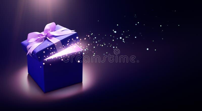 蓝色开放礼物盒 向量例证