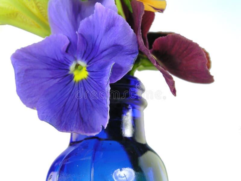 蓝色开花混杂的花瓶 库存照片