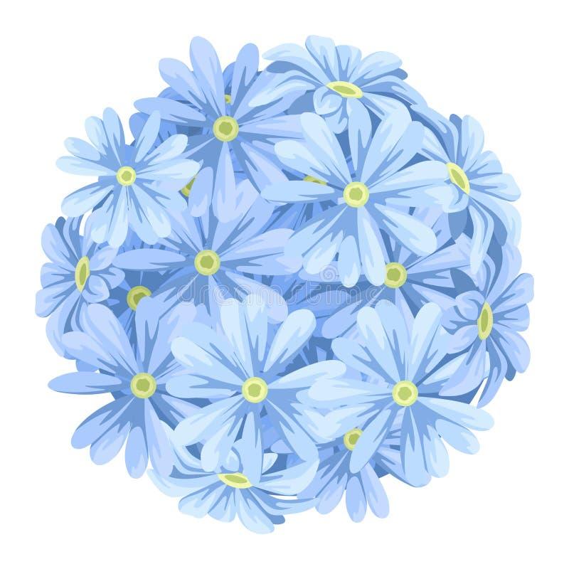 蓝色开花球花束 也corel凹道例证向量 库存例证