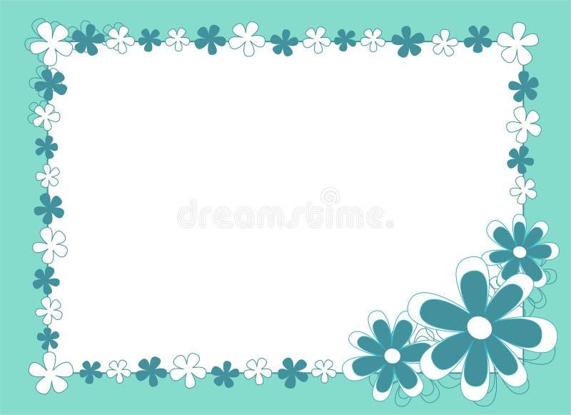 蓝色开花的框架 向量例证