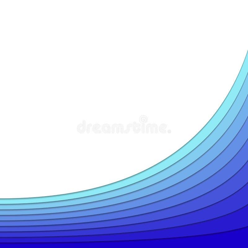 从蓝色弯曲的条纹的背景分层堆积-导航与3d作用的海报设计温泉概念的 向量例证