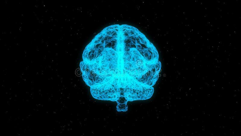 蓝色形成人脑的结节线和多角形 人为脑子巡回概念电子情报mainboard 向量例证