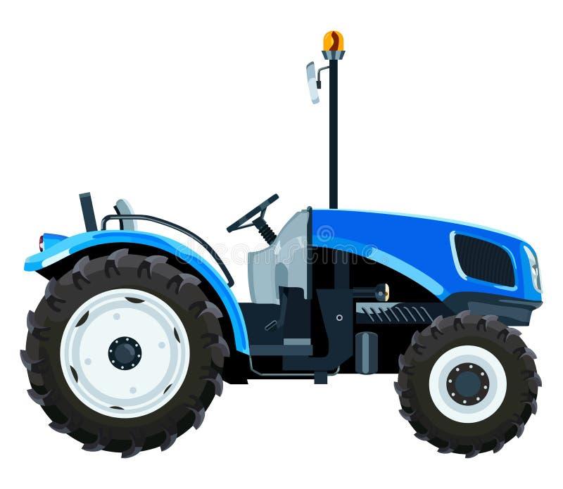 蓝色微型拖拉机 向量例证