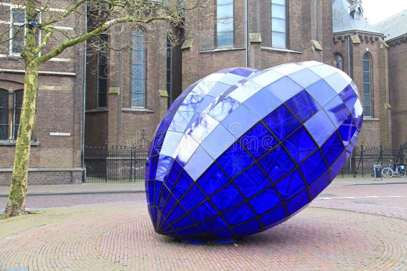 蓝色心脏在城市德尔福特,荷兰的中心 库存照片