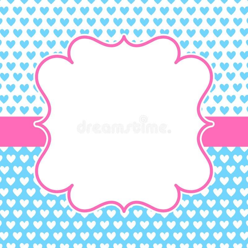 蓝色心脏桃红色框架华伦泰卡片 向量例证