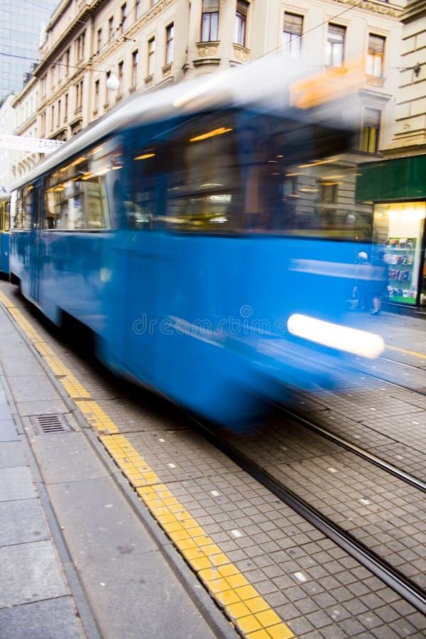 蓝色快速电车轨道 免版税库存照片