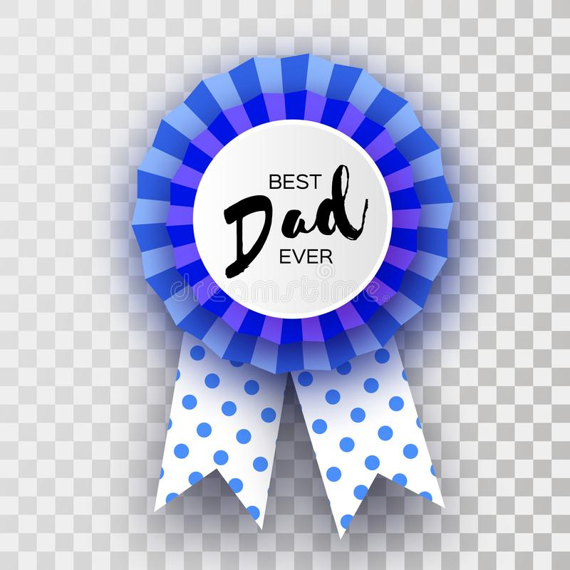 蓝色愉快的父亲节贺卡 在纸的最佳的爸爸徽章奖削减了样式 Origami分层了堆积奖牌 圆点 库存例证