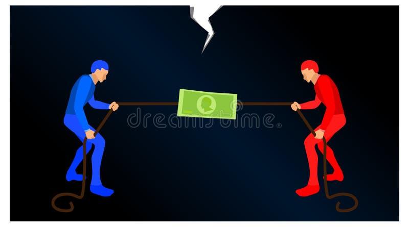 蓝色慌忙人民和红色的人拉扯绳索得到金钱的标志 竞争的例证在财务的 充分传染媒介 向量例证