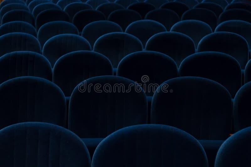 蓝色戏院或剧院位子 免版税库存图片
