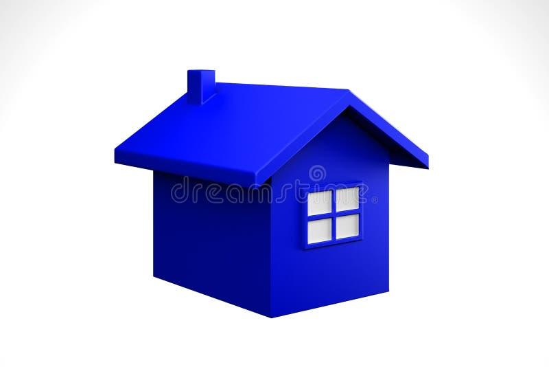 蓝色房子图标 截去容易的编辑文件例证的3d包括了路径翻译 皇族释放例证