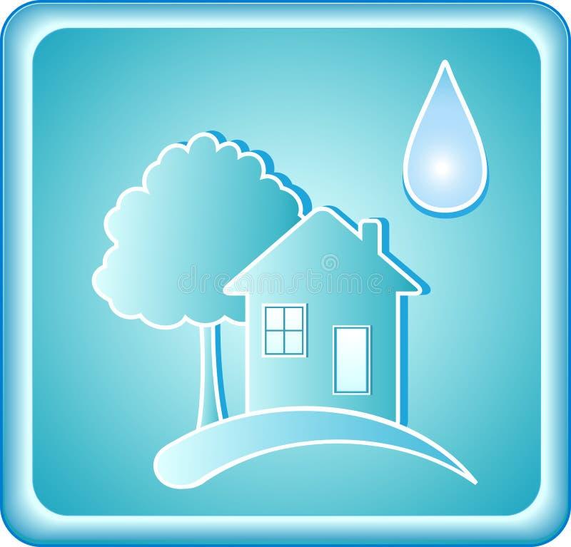 蓝色房子符号结构树水 向量例证