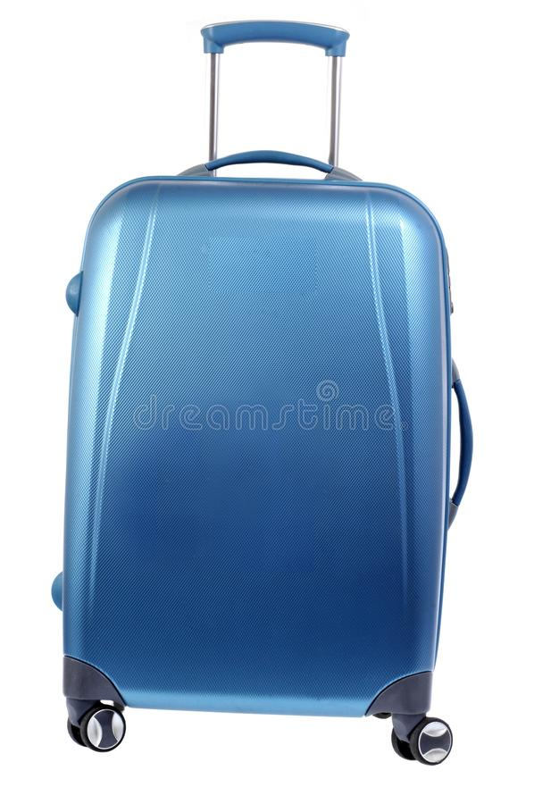 蓝色手提箱轮子 图库摄影
