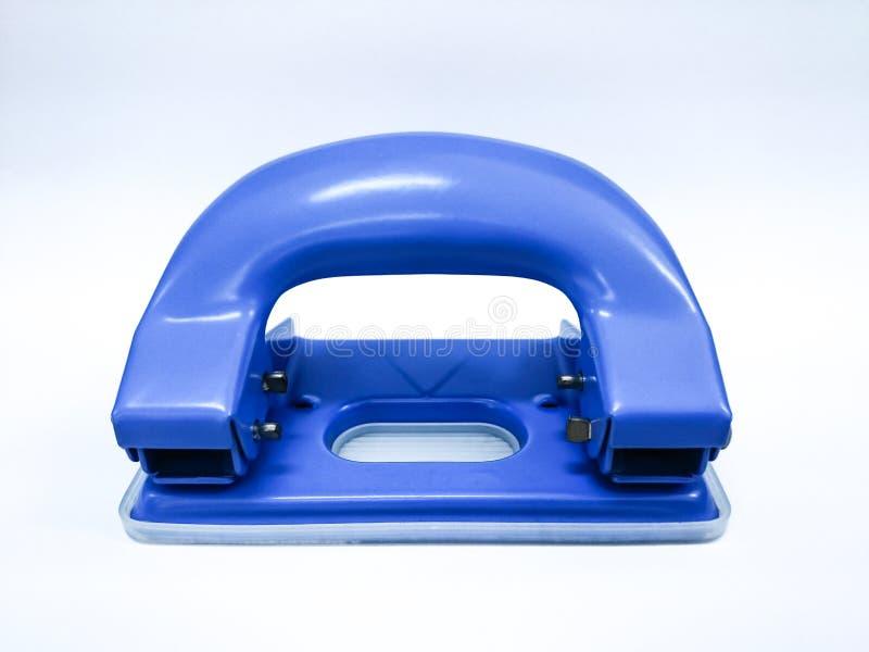 蓝色打孔器被隔绝的白色背景 免版税图库摄影