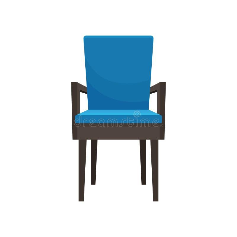 蓝色扶手椅子,舒适的家具,家庭内部传染媒介例证的元素在白色背景 向量例证