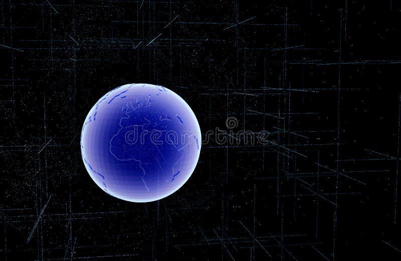 蓝色技术圈子和计算机科学抽象背景与蓝色和二进制编码矩阵 事务和连接 3d 向量例证