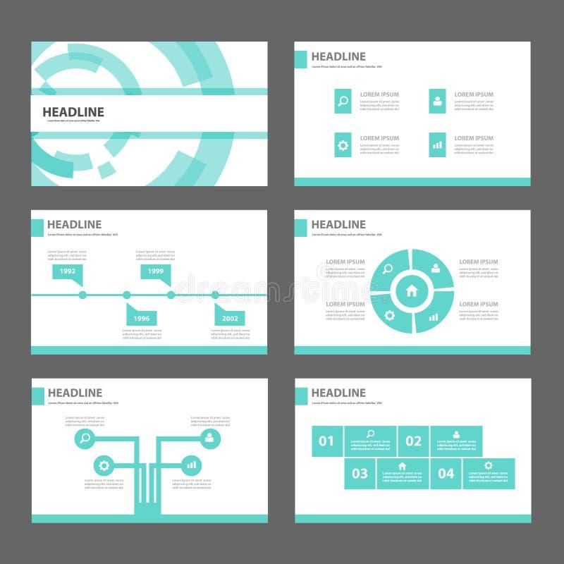 蓝色技术Infographic元素象介绍模板平的设计为给营销小册子飞行物做广告设置了 库存例证