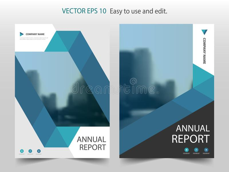 蓝色抽象三角小册子年终报告设计模板传染媒介 企业飞行物infographic杂志海报 向量例证