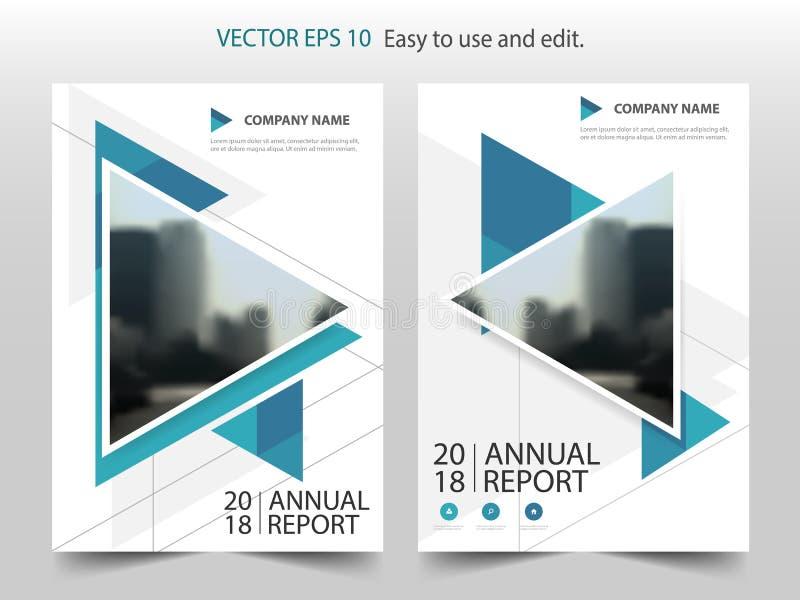 蓝色抽象三角年终报告小册子设计模板传染媒介 企业飞行物infographic杂志海报 库存例证
