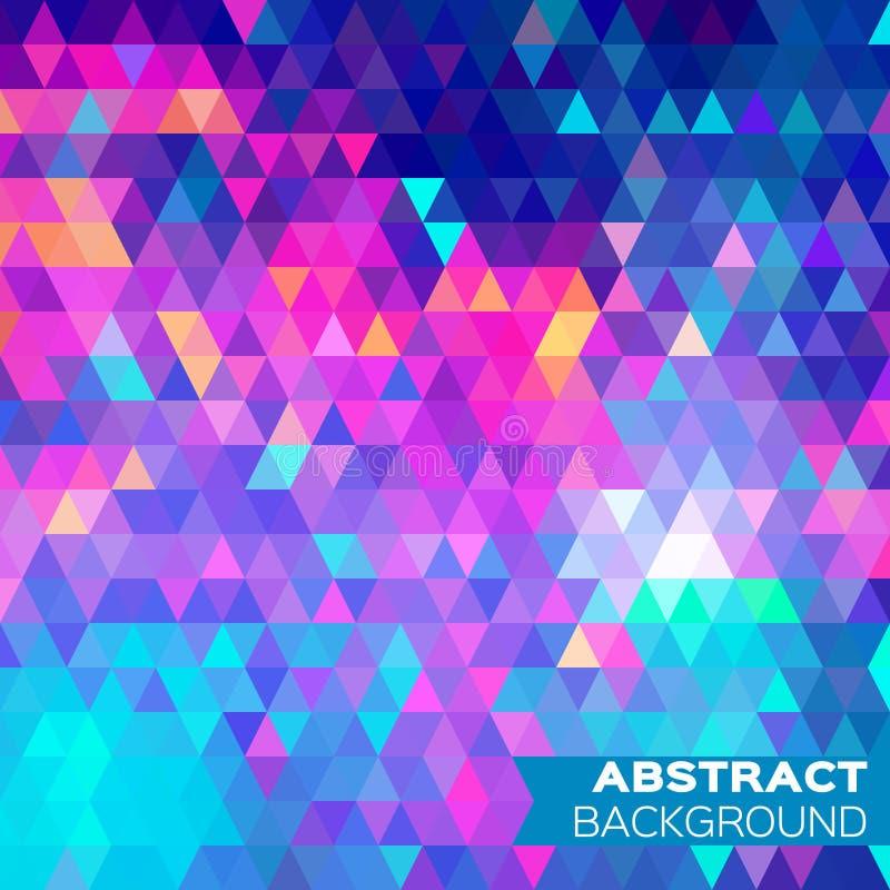 蓝色抽象五颜六色的几何三角背景 库存例证