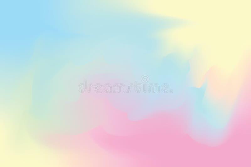 蓝色抽象五颜六色的明亮的颜色画笔艺术背景,多五颜六色的绘画艺术丙烯酸酯的水彩墙纸柔和的淡色彩 向量例证