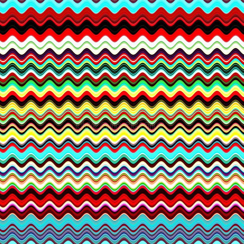 蓝色抽象五颜六色的波浪的夏天,红色,绿色,黄色,白色多色背景 皇族释放例证