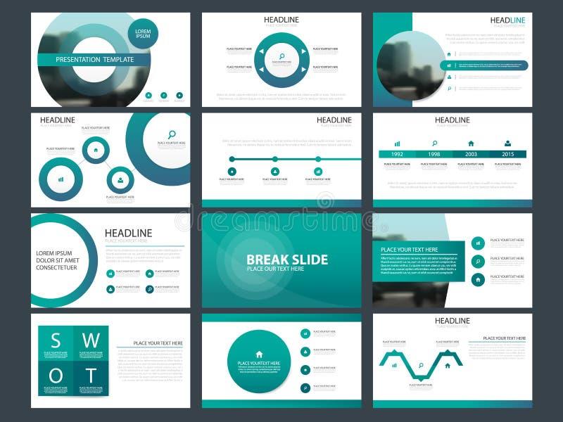 蓝色抽象介绍模板, Infographic元素模板平的设计为年终报告小册子飞行物传单设置了 皇族释放例证
