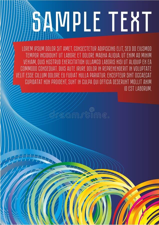 蓝色抽象传染媒介背景对于信息、介绍、海报、色的圆环和线,美丽的意想不到的bac 皇族释放例证