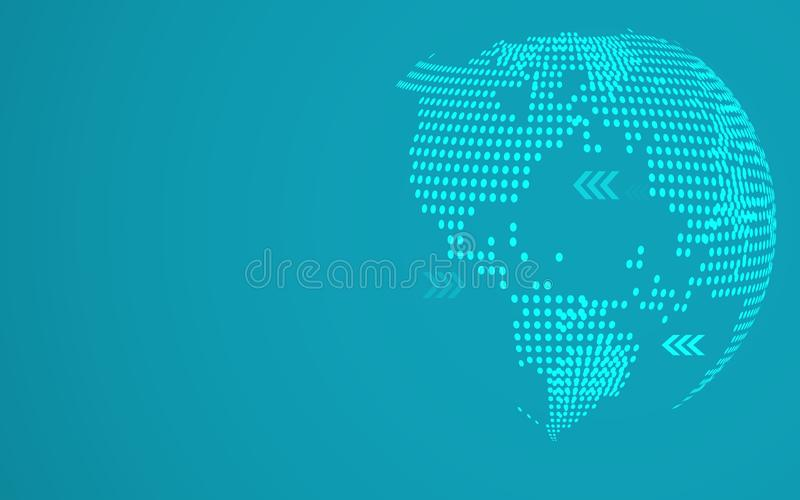 蓝色抽象全球性小点地图背景 辐形梯度 报告和项目介绍模板的现代设计墙纸 皇族释放例证